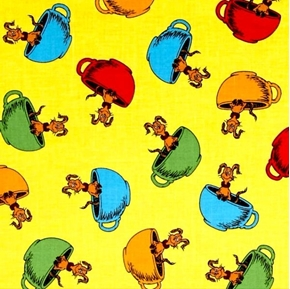 Hop on Pop Dr Seuss Storybook Pups in Cups Yellow Cotton Fabric