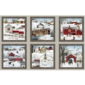 Headin Home Winter Amish Buggies Country Barns 24x44 Cotton Panel