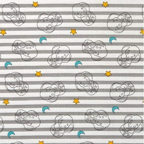 Disney Sweet Dreams Dumbo Stripe Grey Elephant Cotton Fabric