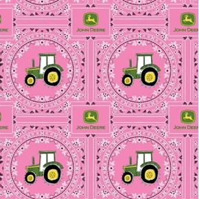 Picture of John Deere Pink Bandana Tractor Farming Cotton Fabric