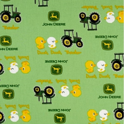 Picture of John Deere Nursery Duck Duck Tractor Green Cotton Fabric
