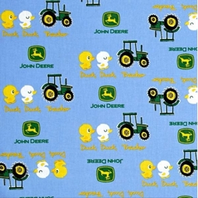 John Deere Nursery Duck Duck Tractor Blue Cotton Fabric