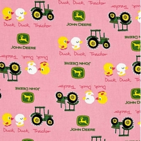 Picture of John Deere Nursery Duck Duck Tractor Pink Cotton Fabric