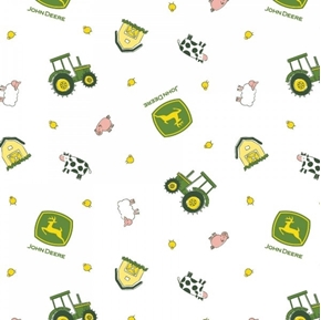 Picture of John Deere Nursery Animal Toss Farm Barn Tractor White Cotton Fabric