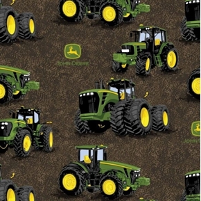 Picture of John Deere Proven Power Tractors Dark Brown Cotton Fabric