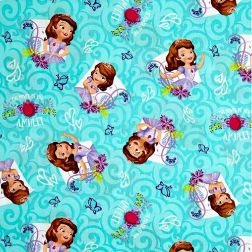 Disney Sofia the First The Power of the Amulet Teal Cotton Fabric