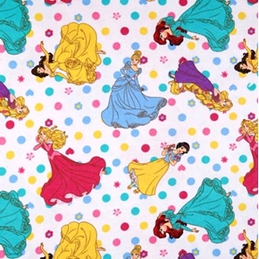 Picture of Flannel Disney Princess Polka Dots Belle Aurora White Cotton Fabric