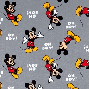Picture of Flannel Disney Mickey Mouse Oh Boy Grey Cotton Fabric