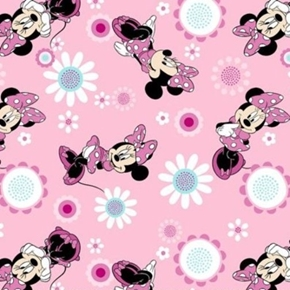 Picture of Flannel Disney Minnie Mouse Pose Toss Pink Cotton Fabric