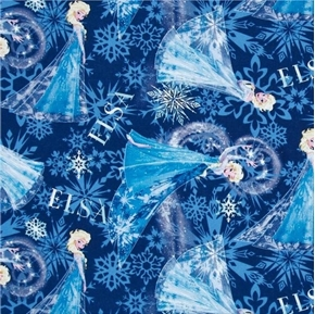 Picture of Disney Frozen Elsa Allover Snowflakes Deep Blue Cotton Fabric