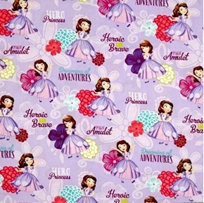 Disney Sofia the First  Sofia Hero Princess Lavender Cotton Fabric
