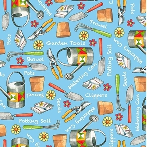 Who Let The Hogs Out Garden Tools Watering Can Blue Cotton Fabric