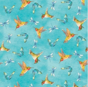 Prelude Hummingbirds Butterflies Dragonflies Blue Cotton Fabric