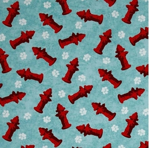 Dog Wisdom Fire Hydrants and Dogs Paw Prints Cotton Fabric