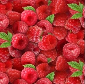 Berry Good Fresh Red Raspberries Berries Cotton Fabric