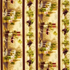 Picture of Uncorked Wine Bottles Glasses Grapes Stripe Napa Valley Cotton Fabric