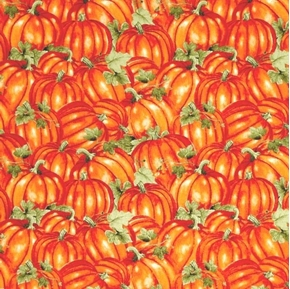 Picture of Colors of Fall Pumpkin Patch Orange Pumpkins Cotton Fabric