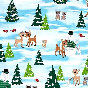 Picture of Rudolph Scenic Red Nose Reindeer Winter Scene Cotton Fabric