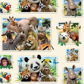 Zoo Selfies Panda Monkey Cute Animal Selfie 24x44 Cotton Fabric Panel