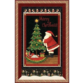 Santas Big Night Christmas Tree Holiday 24x44 Cotton Fabric Panel