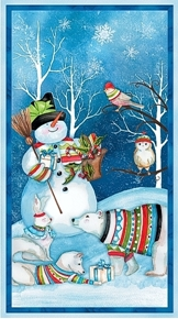 Picture of Snowy Friends Winter Animals and Snowman 24x44 Cotton Fabric Panel