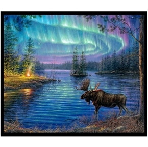 Northern Lights Moose Lake Aurora Borealis Large Cotton Fabric Panel