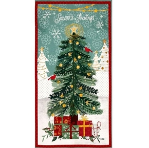 Picture of Frosted Holiday Season's Greetings Christmas Tree 24x44 Fabric Panel