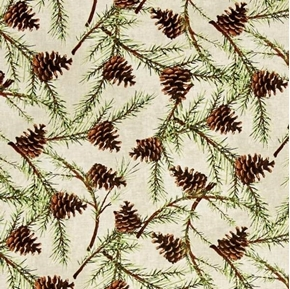 Picture of Christmas in the Wildwood Pinecones Pine Boughs on Tan Cotton Fabric