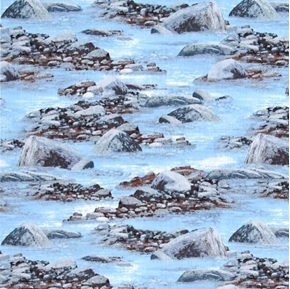 Roaming Wild Rocky Stream Blue Water and Rocks Cotton Fabric