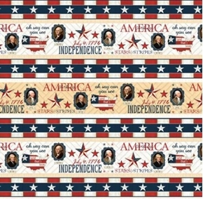 Picture of Heritage Patriotic American Presidential Stripe 24x22 Cotton Fabric