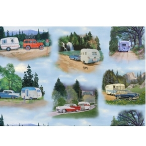 Vintage Trailers Camper Camping Campground Vignettes Cotton Fabric