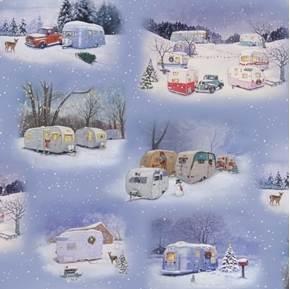 Picture of Vintage Trailers Camper Camping Scenes in Winter 24x22 Cotton Fabric