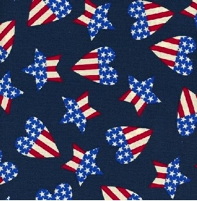 Picture of Patriotic Hearts and Stars America Red White and Blue Cotton Fabric
