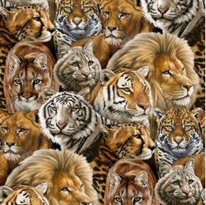 Big Cats Lion Tiger Jaguar Cougar African Animal Cotton Fabric