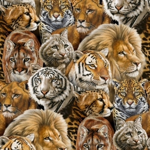 Picture of Big Cats Lion Tiger Jaguar Cougar African Animal Cotton Fabric