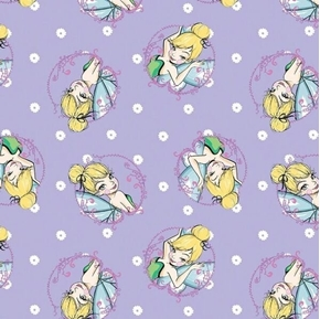 Disney Tinkerbell Toss Tink Cameos Purple Cotton Fabric