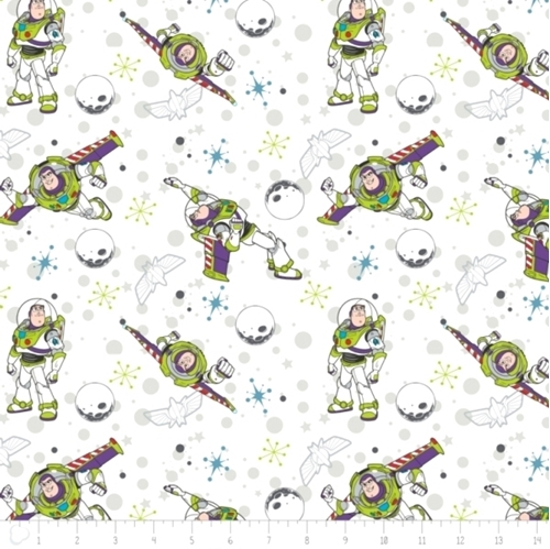 Picture of Disney Toy Story Buzz Lightyear Planets and Stars White Cotton Fabric
