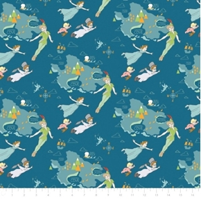 Picture of Disney Peter Pan and Neverland Wendy and the Boys Blue Cotton Fabric