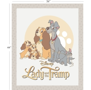 Picture of Disney Lady and the Tramp Family Movie Large Cotton Fabric Panel