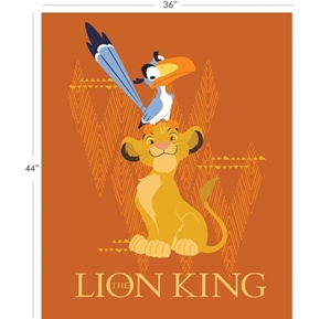 Disney The Lion King Large Orange Large Cotton Fabric Panel