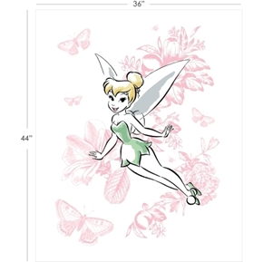 Picture of Disney Tinkerbell Floral Large White Cotton Fabric Panel