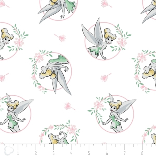 Flannel Disney Tinkerbell Floral Frame White Cotton Fabric