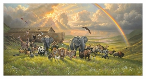 Noahs Ark Beautiful Animals and Rainbow 24x44 Cotton Fabric Panel