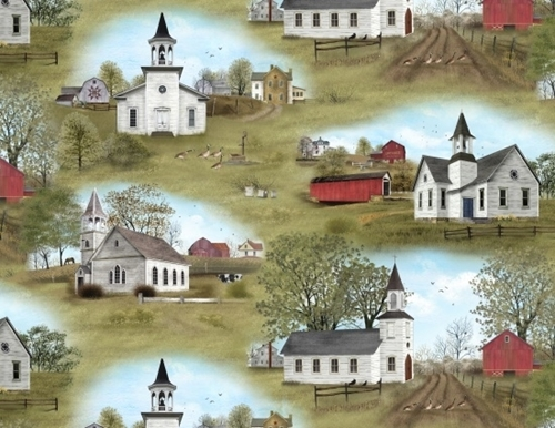 Amazing Grace Country Church Scenic Cotton Fabric
