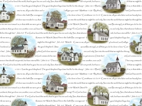 Picture of Amazing Grace Scripture Country Churches and Bible Verse Cotton Fabric