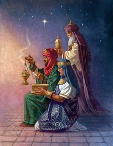 Picture of Three Kings Offering Gifts Christmas Nativity Cotton Fabric Panel