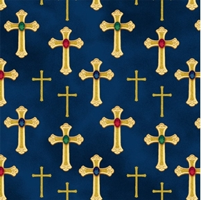 Three Kings Metallic Gold Crosses Jewels Sapphire Blue Cotton Fabric