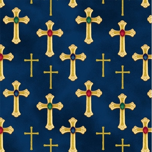 Picture of Three Kings Metallic Gold Crosses Jewels Sapphire Blue Cotton Fabric