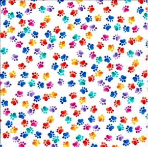 Picture of Dog Paw Prints Rainbow Bright Animal Paws on White Cotton Fabric