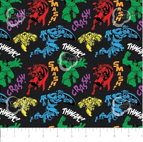Avengers Unite Hulk Thor Captain America Black Cotton Fabric